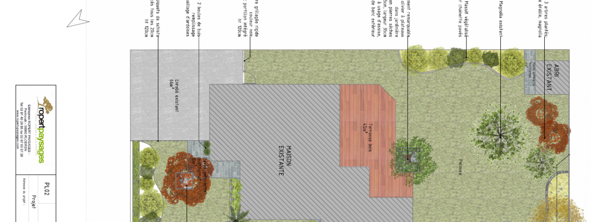 Plan, vue 3D, esquisse d'un jardin avec terrasse
